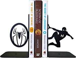 HeavenlyKraft Superhero Decorative Metal Bookend, Non Skid Book End, Book Stopper for Home/Office Decor/Shelves, 5.9 X 3.9 X 3.14 inch per Piece, Support Outside