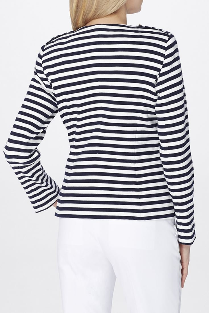 Tahari Brand - Striped Wing Collar Knit Jacket - Navy White - 16 by Tahari (Image #2)