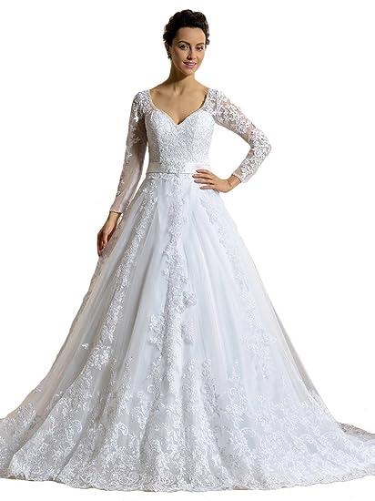 Annxrose Women s Ball Gown Long Sleeve Appliques Beaded Tulle V-Neck  Wedding Dress Bridal Gown 6f655947c