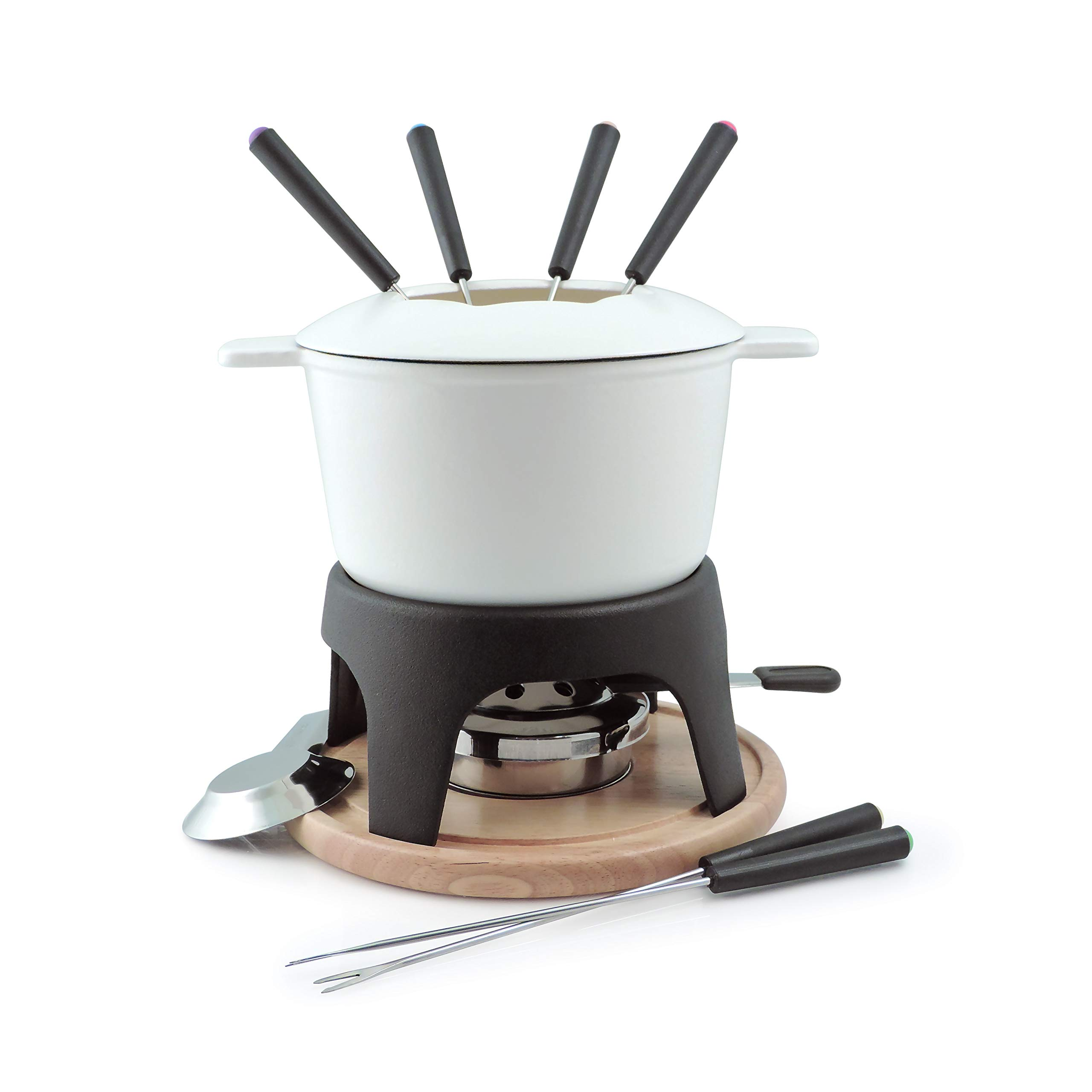 Swissmar F66707 Sierra 1.6-Quart Cast Iron Meat Fondue Set, 12-Piece, White by Swissmar
