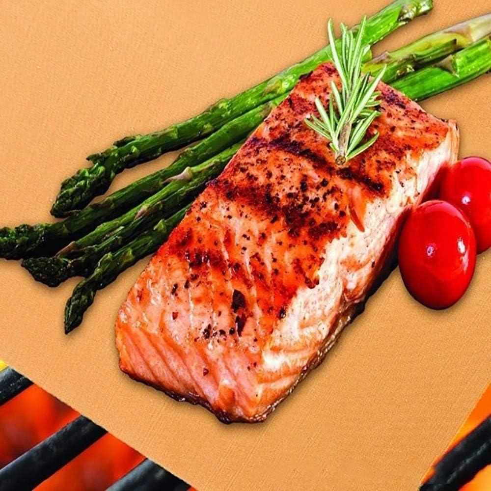 5Pcs Barbecue Grill Tapis, Antiadhésif Barbecue Grill Tapis Haute Température Résistant Réutilisable pour Charbon de Gaz Électrique Grill Cuivre 40*33 Cm