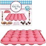 Benross - Kit per preparare dolcetti su bastoncino, stampo in silicone, Colore: rosa, Confezione da 20