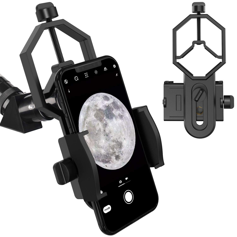 Telescope Phone Mount, Universal Smart Phone Adapter Holder Compatible Binocular Monocular Spotting Scope Telescope Microscope fits Almost All Smartphone on The Market by MINGDI