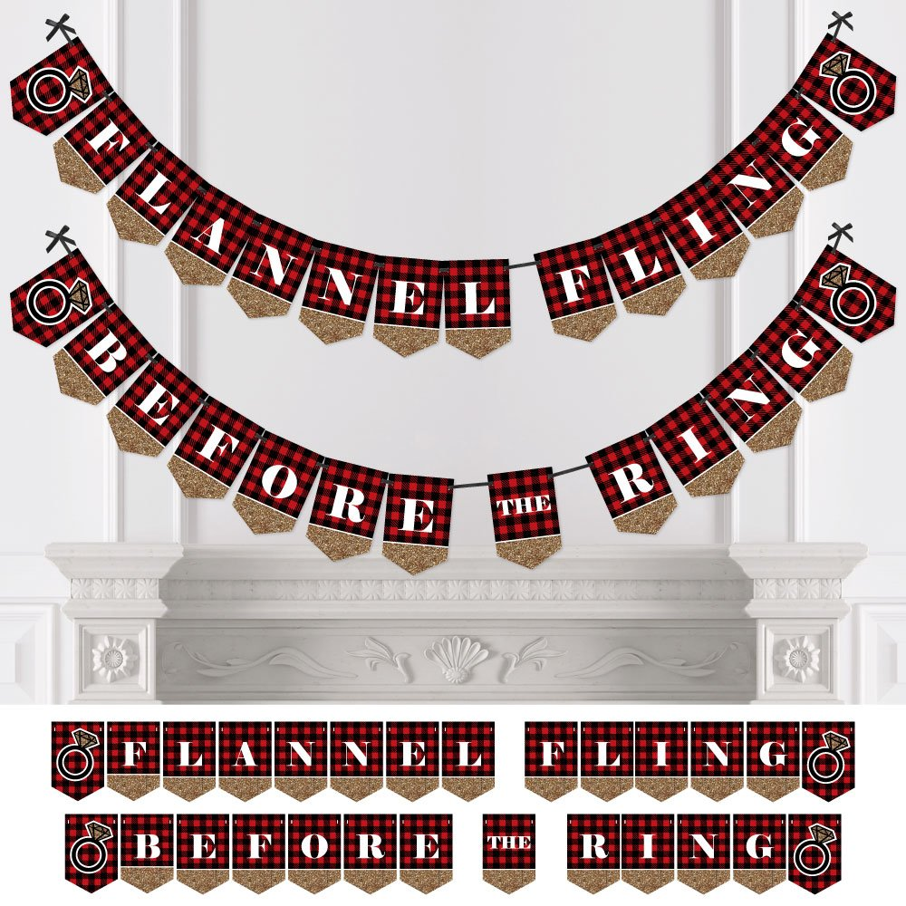 Flannel Fling Before The Ring - Buffalo Plaid Bachelorette Party Bunting Banner - Bachelorette Party Decorations by Big Dot of Happiness