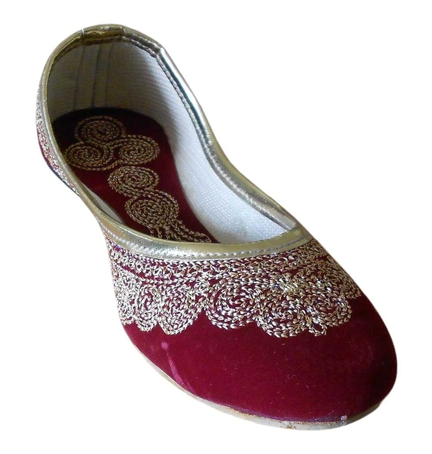 Kalra Creations Women's Traditional Indian Velvet Designer Shoes