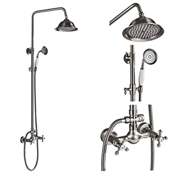 Rain Shower Head With Handheld Spray.Rozin Bathroom Dual Knobs Mixer Rainfall Shower Set With Handheld Spray Brushed Nickel