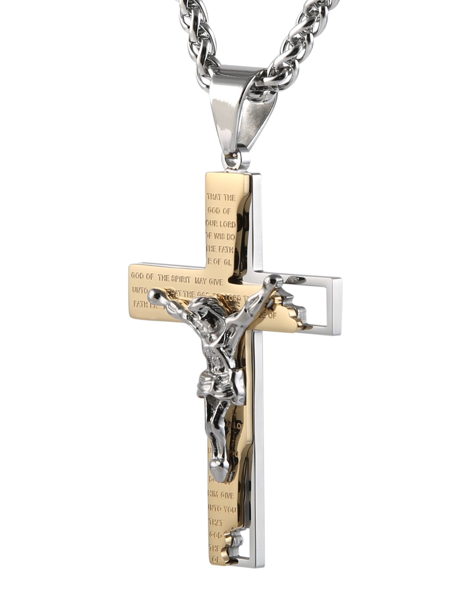 HZMAN Men's Stainless Steel Cross Crucifix Bible Prayer Pendant Necklace 24'' Chain Gold