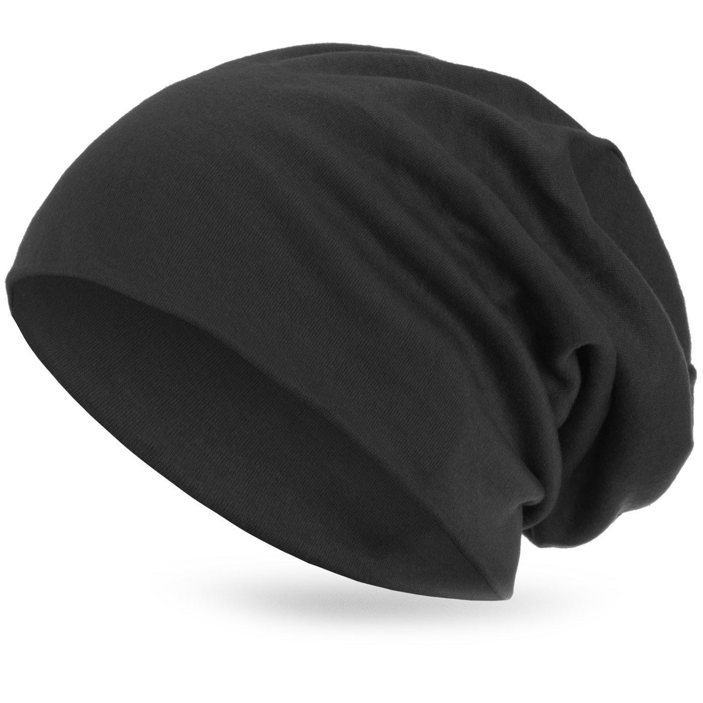 style3 Warme Übergangs Slouch Beanie XXL aus atmungsaktivem, feinem und wärmendem Jersey Unisex Herbst Winter-mütze Farbe:Anthrazit