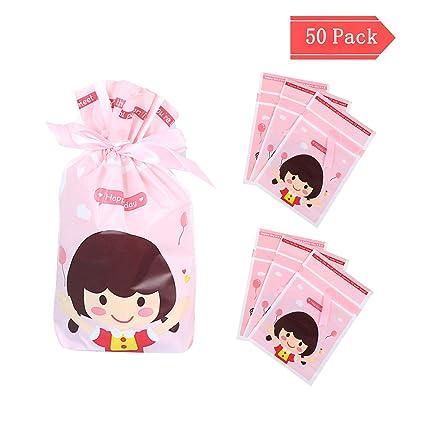 Bolsas de regalo, CNNIK 50PCS Bolsas de dulces hornear Bolsas de envoltura de alimentos Dibujos animados Niña y niño, para cargar galletas, pasteles, ...