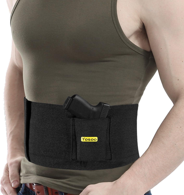 Ajustable Tactical banda elástica de Ocultación Belly Cinturón abdominal Cintura Pistola Pistola Handgun Holster oculto para llevar con Dual Cartucheras