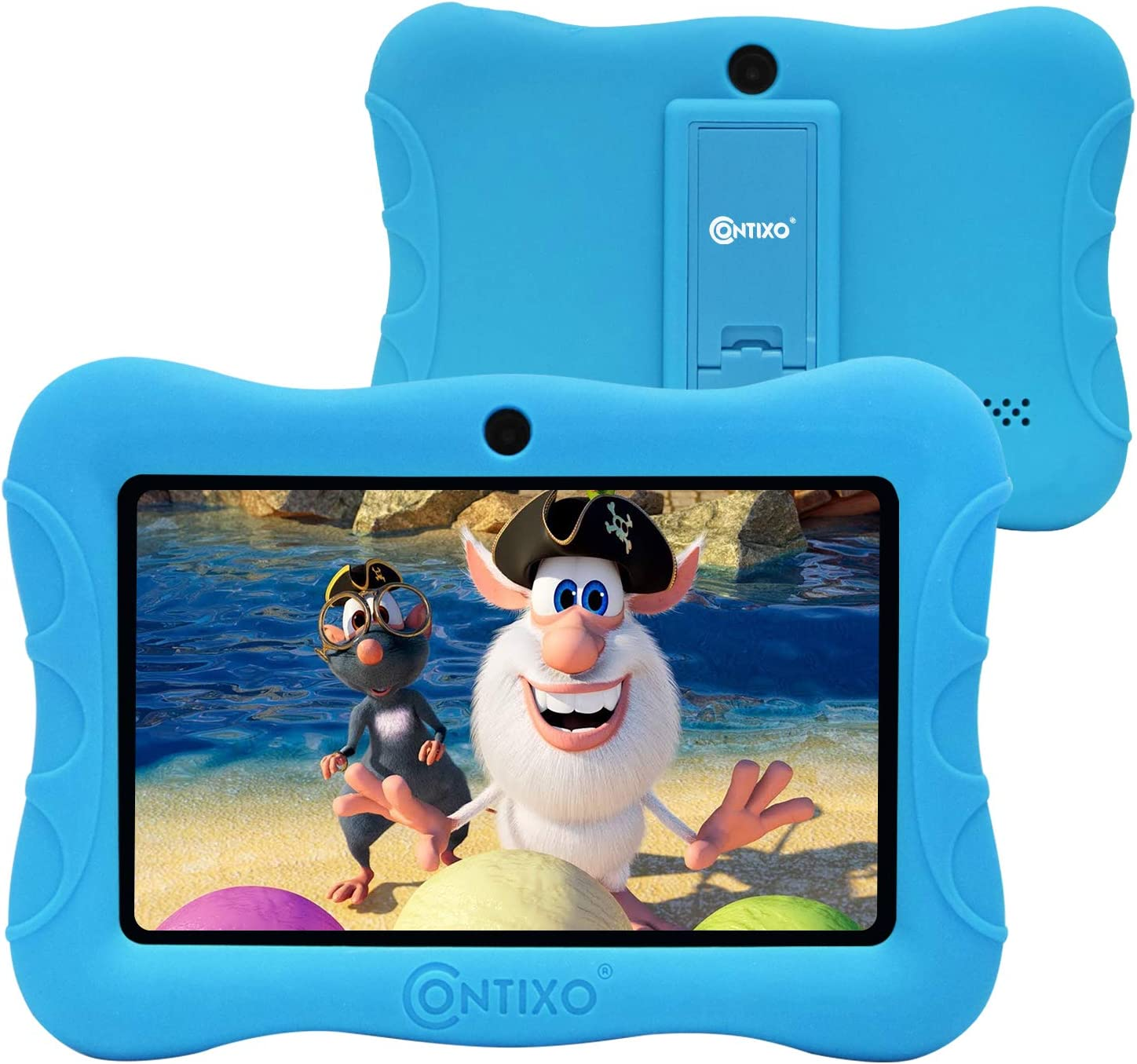 Contixo 7 Inch Kids Learning Tablet Parental Control 16GB Android 9.0 for at Home School Children Infant Toddlers - Pre-Loaded Educational Apps - Child-Proof Case - Great Gift for Children (Blue)