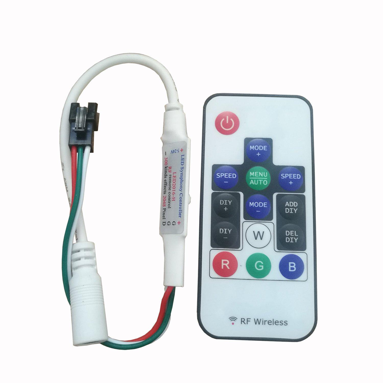 IKSACE SP103E 14Keys Mini-RF Led RGB Controller 300 Kinds of Changes Wireless Digital RF Led Controller for Color LED Strip led Light WS2811 WS2812 DC 5V-24V 14keys RF Controller) IKSLED