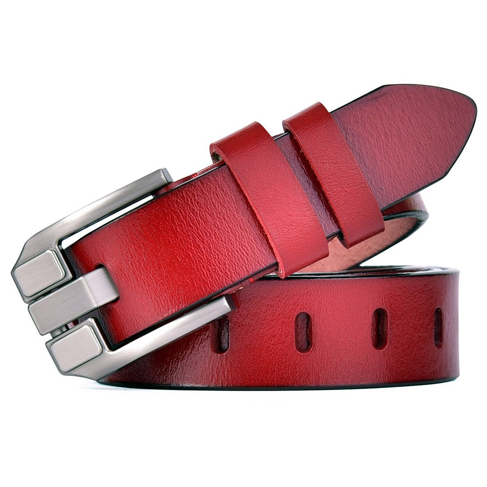Red 11 Talleffort Women's Flower Genuine Cowhide Leather Jeans Belts