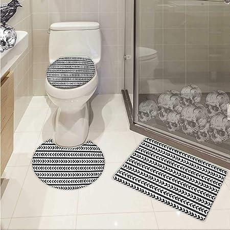 Ensemble Tapis De Bain Géométrique Et Tapis De Toilette Avec