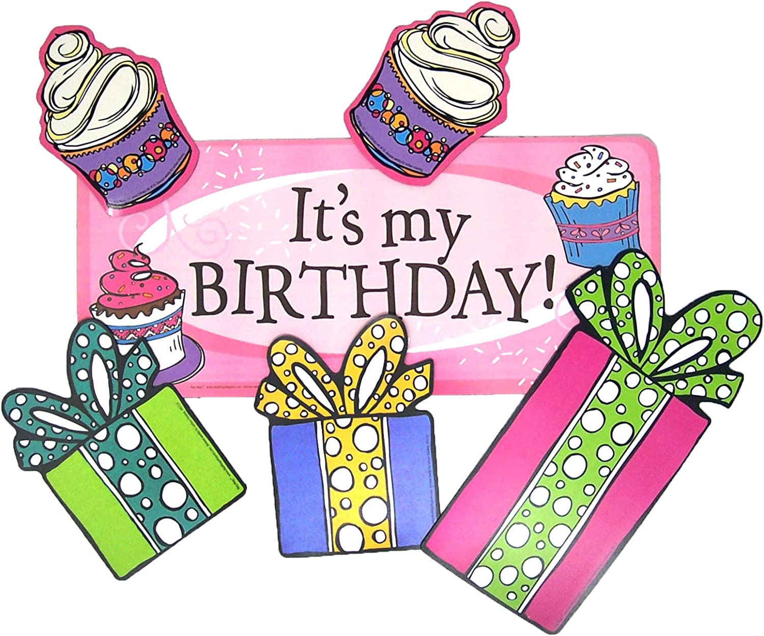 Car Magnet It's My Birthday Banner with Cupcakes and Presents Magnetic Decal for Locker or Fridge