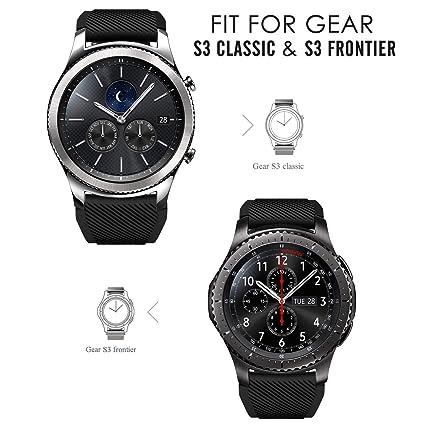 iBazal 22mm Correa Silicona Pulseras Bandas Compatible con Samsung Galaxy Watch 46mm,Gear S3 Frontier Classic,Huawei GT/2 Classic/Honor Magic,Ticwatch ...