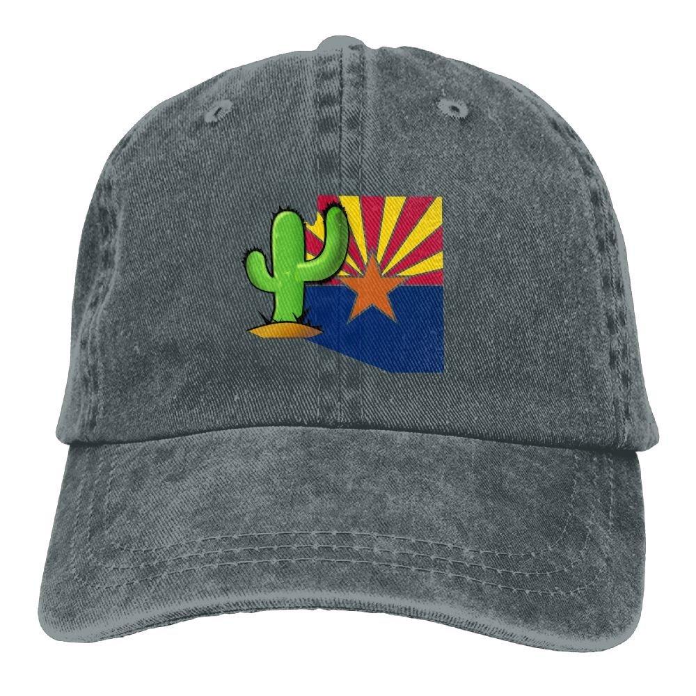 Vintage Cactus Arizona FlagVintageDenim Cap Adult Unisex Adjustable Hat