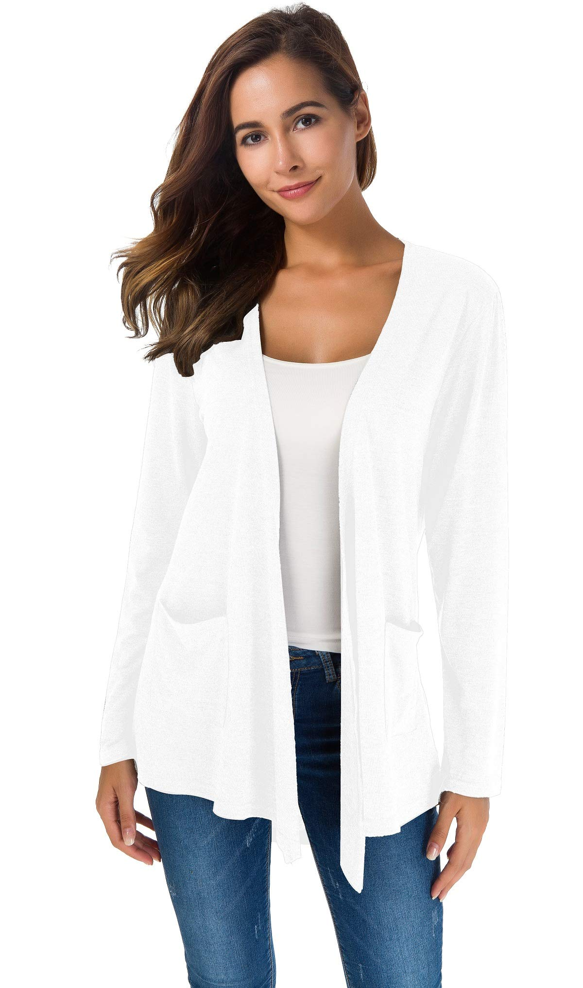 Women's Loose Casual Long Sleeved Open Front Breathable Cardigans with Pocket (White1, S)