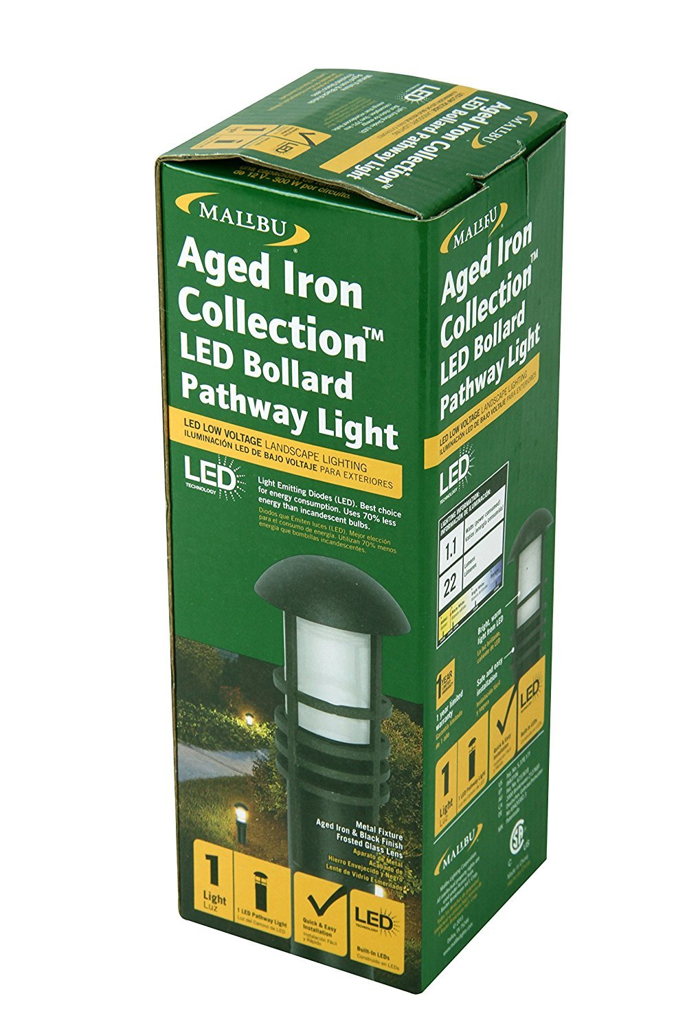 malibu aged iron collection led bollard pathway light led low
