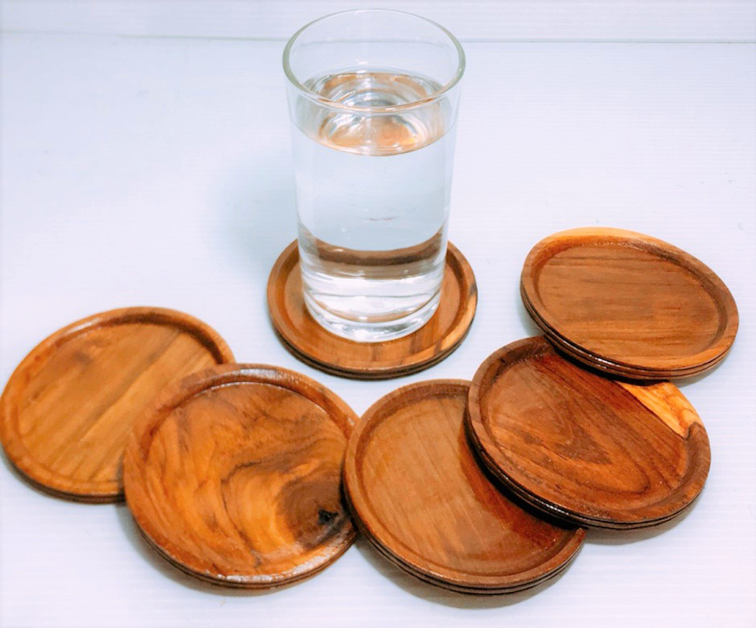 DDPremium Thai Handcraft Wooden Teak Wood Saucers Water Glass Coaster Set 6 Pcs, 3.4 inches in Diameter by DDPremium