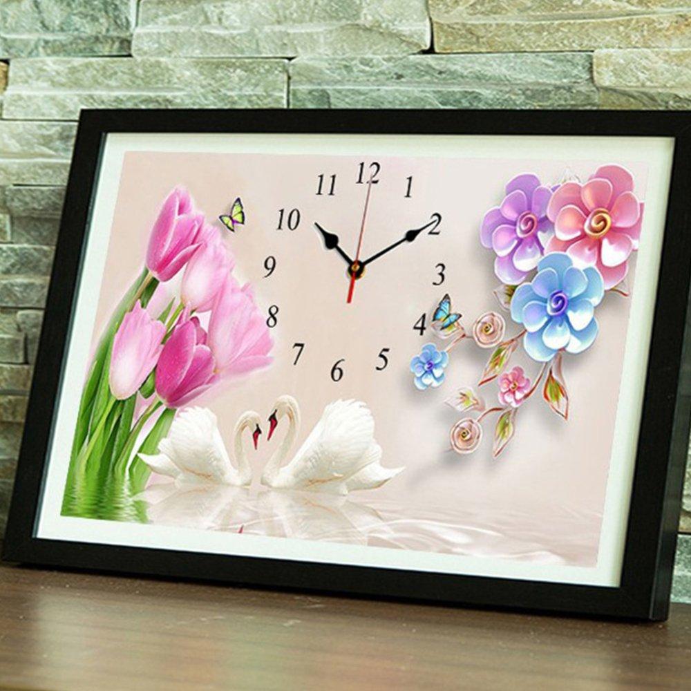 QIANDD 5D Diamant Diamant Diamant Malerei Vollbohrer DIY Strass Kreuzstich Weißen Schwan Uhr,150  100cm 691d19