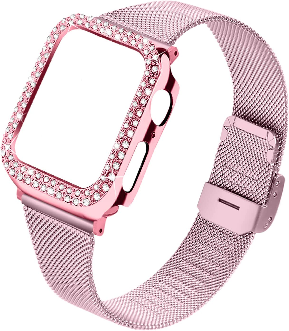 Joyozy Stainless Steel Mesh bands Compatible For Apple Watch 44mm,Women Bling Protective Crystal Diamond Case with Loop Mesh Strap For Apple watch Series 6/SE/5/4(No Tool Needed) (Rose Pink, 44MM)