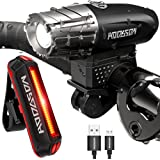 HODGSON Both USB Rechargeable Bike Light – Super Bright Front Light and LED Bike Tail Light set, Splash-proof and Easy to Install & Remove for Safe Cycling