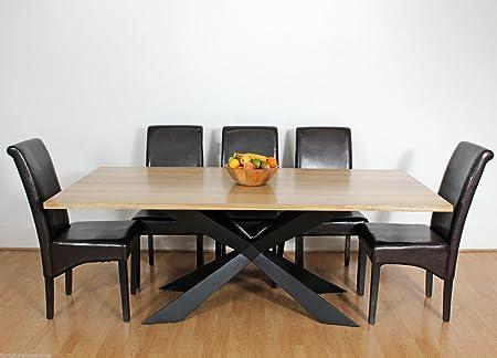 Mesa de comedor rústica Georgio grande, de madera y metal, moderna, de 8, 10 o 12 plazas., madera, marrón, 10 Chairs: Amazon.es: Hogar