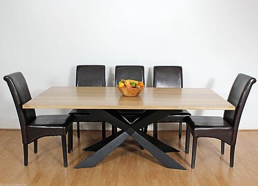 Mesa de comedor rústica Georgio grande, de madera y metal, moderna ...