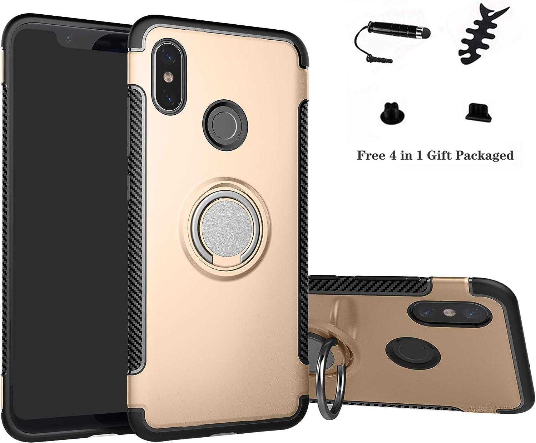 Labanema Xiaomi Mi 8 Funda, 360 Rotating Ring Grip Stand Holder Capa TPU + PC Shockproof Anti-rasguños teléfono Caso protección Cáscara Cover para Xiaomi Mi 8 (con 4 en 1 Regalo empaquetado) - Oro