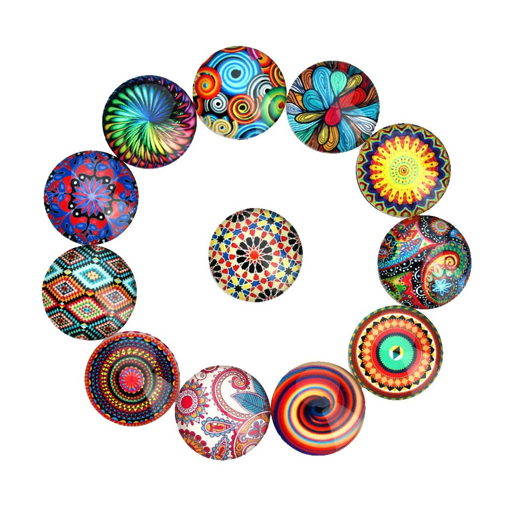 MagiDeal 20 Pieces Glass Flatback Scrapbooking Dome Cabochons for Crafts - Multiclor, 25mm