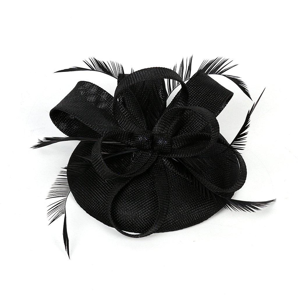 Sharplace Cerchietti Con Piuma Fasce Cappellino Stile Gatsby Da Donna Festa Halloween Capodanno Blu navy