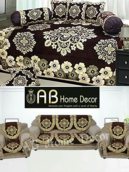 Ab Home Decor Floral Design coffee diwan set and sofa cover set combo