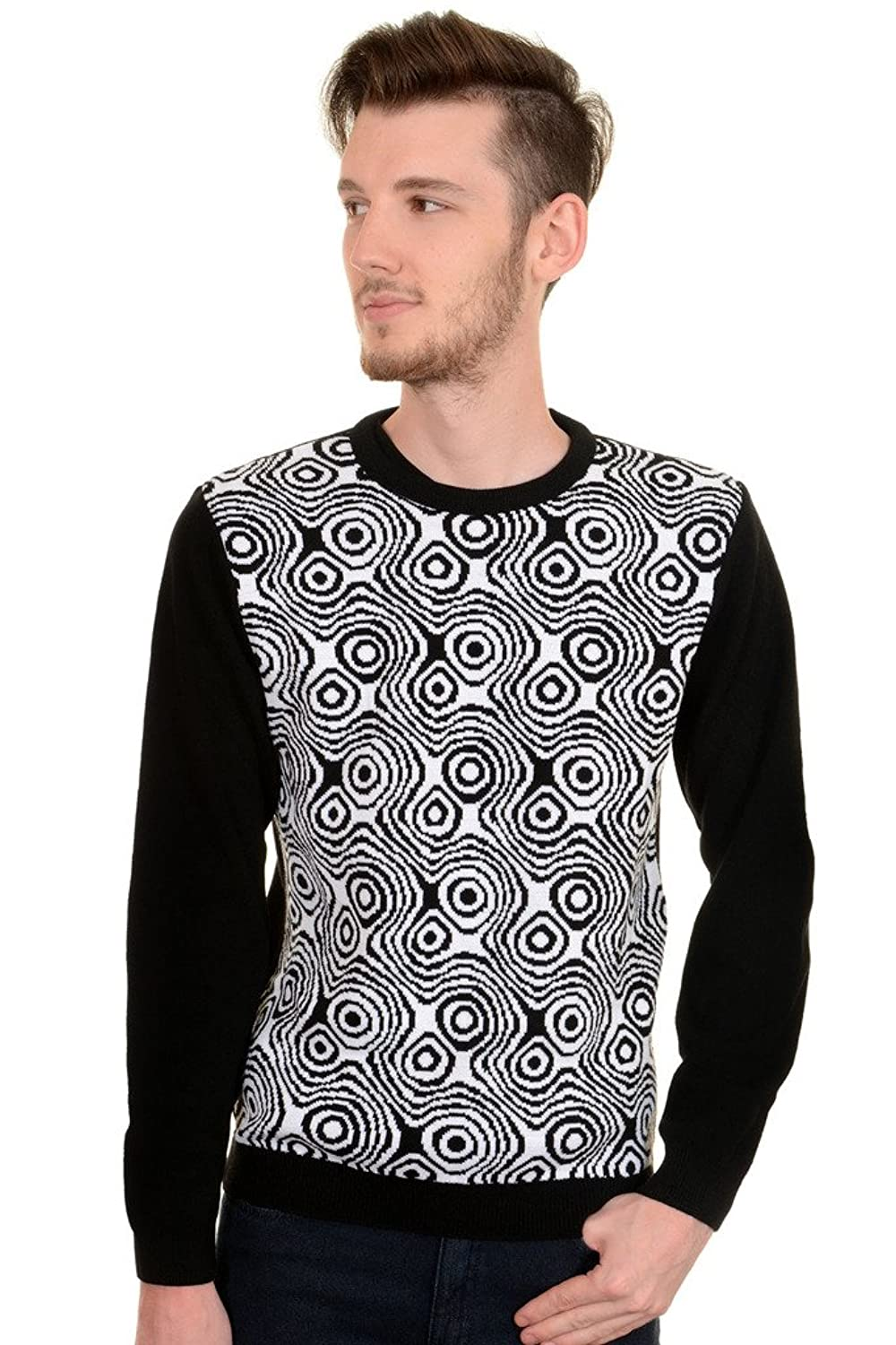 1960s Style Sweaters & Cardigans 60s 70s Vintage Black White Op Art Mod Jumper $39.95 AT vintagedancer.com