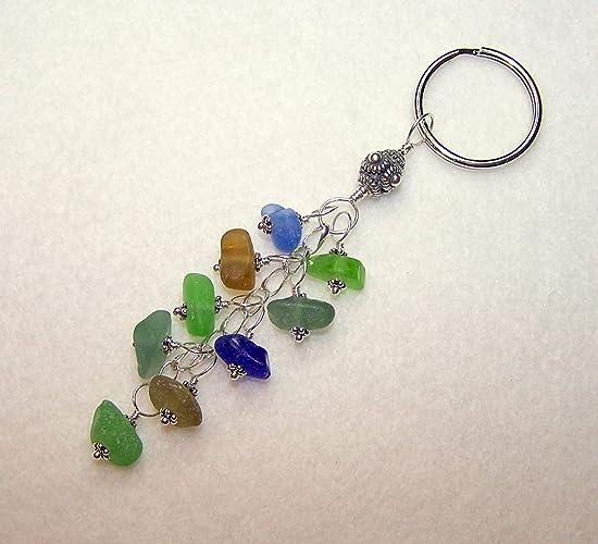 Amazon.com  Sea Glass Keychain Multi Color Silver Keyring  Handmade 822745150
