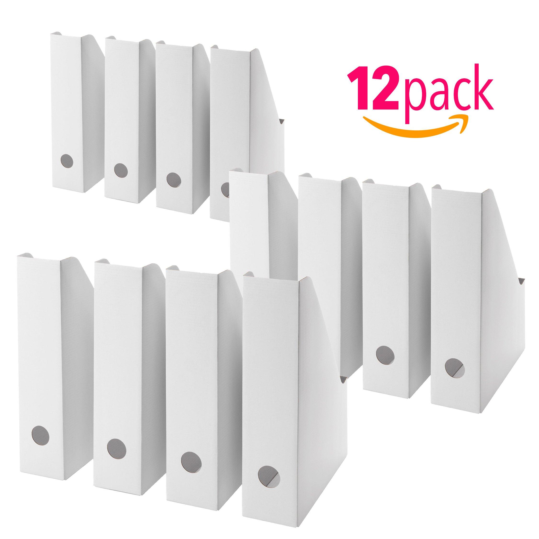 12 Pack Magazine, Document Organiser Holder in White for Office Home use.