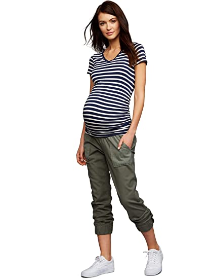 e2e2a5371eda6 A Pea in the Pod Under Belly Canvas Jogger Maternity Pants Olive at Amazon  Women's Clothing store: