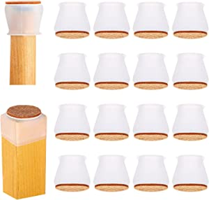 Silicone Chair Leg Floor Protectors 16 Pcs,Chair Leg Covers, Chair Leg Protectors for Hardwood Floors,Felt Bottom Silicone Furniture Foot Protector Pads,Prevent Scratches and Reduce Noise(White)