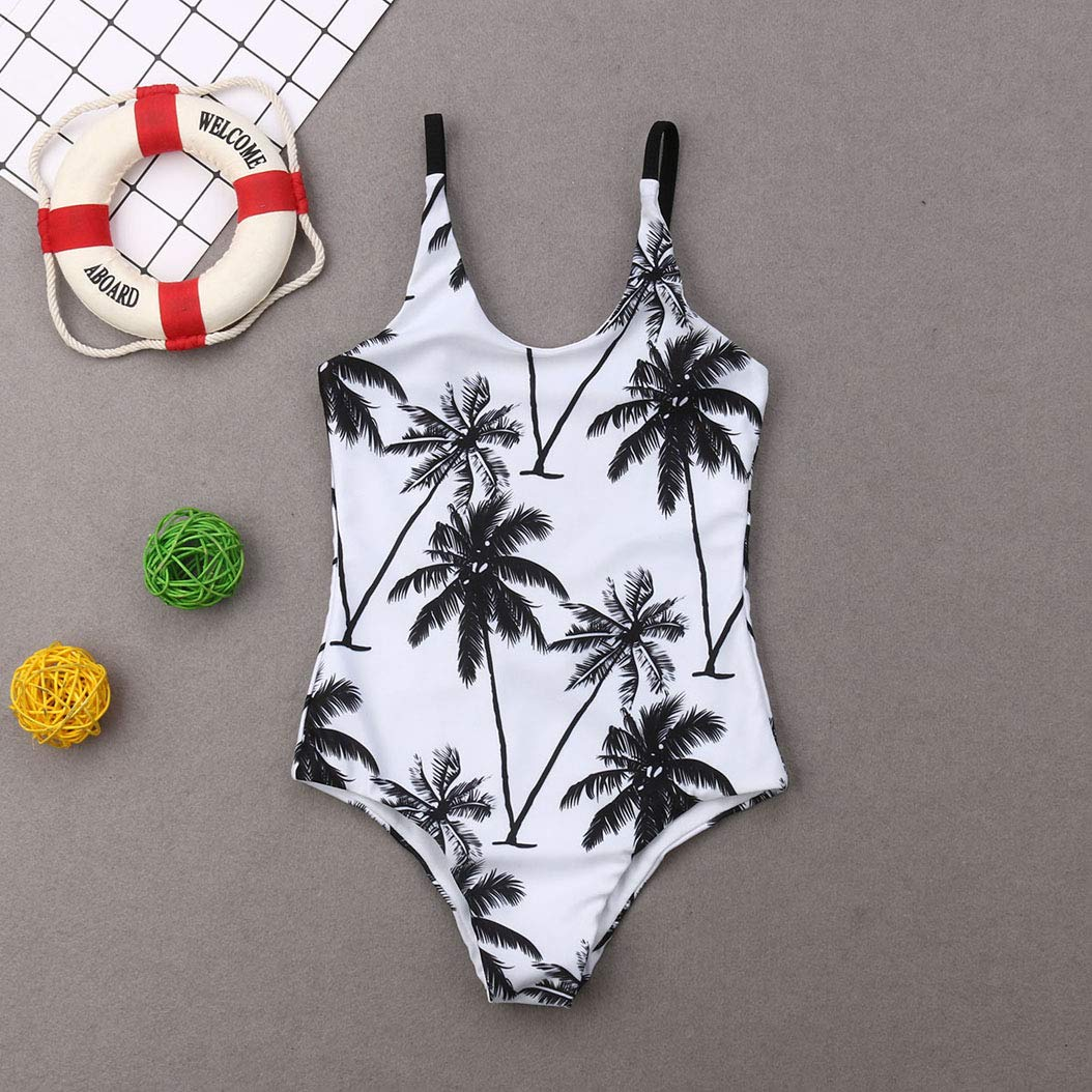Family Matching Plam Tree Print Swimwear Mom and Girl One Piece Swimsuit Dad and Boy Trunks Bathing Suit
