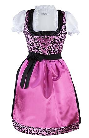 5153b90fec34db Bavarian Clothes Dirndl Damen Set 3 Teilig Pink Rosa Schwarz Gr 34 36 38 40  42