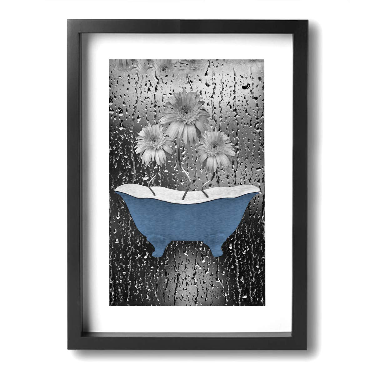 Ale art modern frame bathroom canvas paintings blue gray bathroom daisy flowers raindrops vintage rustic theme pictures bath wall art ready to hang