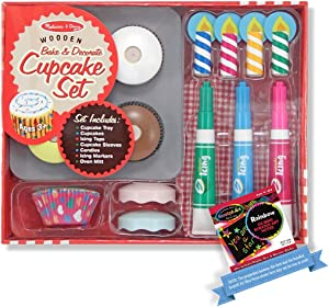 Melissa & Doug Bake and Decorate Cupcake Set - Play Food Set & 1 Scratch Art Mini-Pad Bundle (04019)
