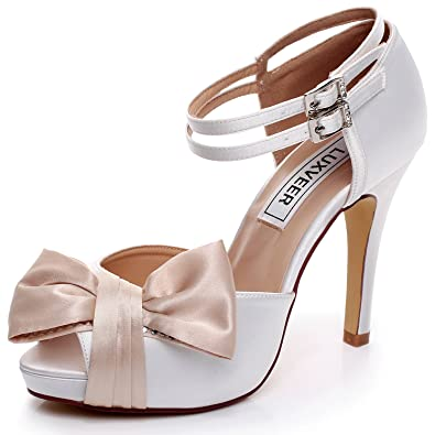 d6c3ea414 LUXVEER White and Champagne Wedding Sandals with Bowknot 4 inch  Heels