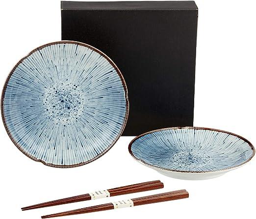 Juego de 2 Platos de Regalo Hanabi, Incluye Palillos japoneses en Caja de Regalo, Fabricados en Japón, Porcelana en Color Blanco y Azul, diámetro de 22,2: Amazon.es: Juguetes y juegos