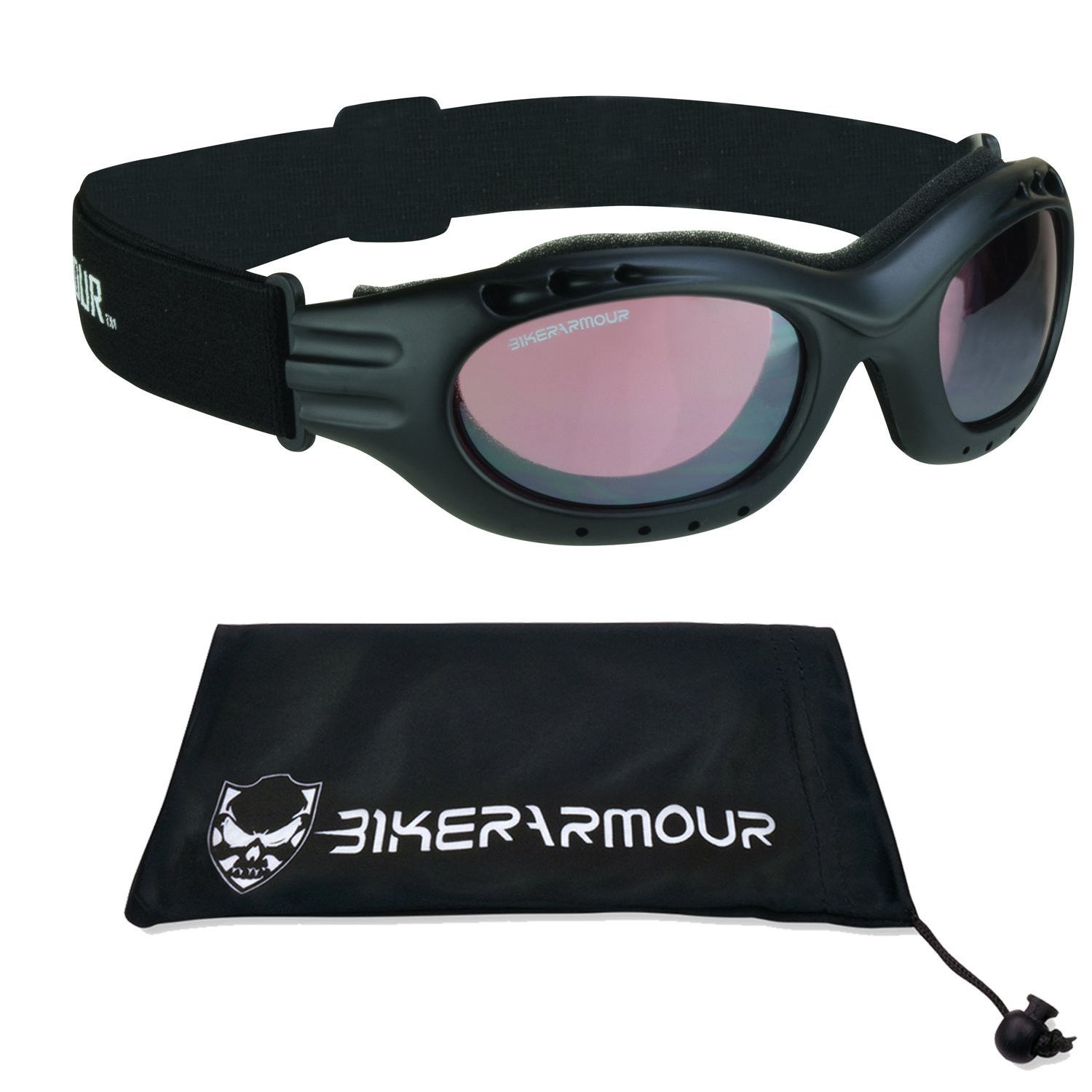 Motorcycle Riding Goggles Rose Tinted Fog Resisitant