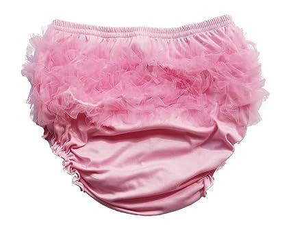 Haian abdl niña volantes braguitas gasa Bloomers Pañal Cubierta Pink & Pink Talla:largo