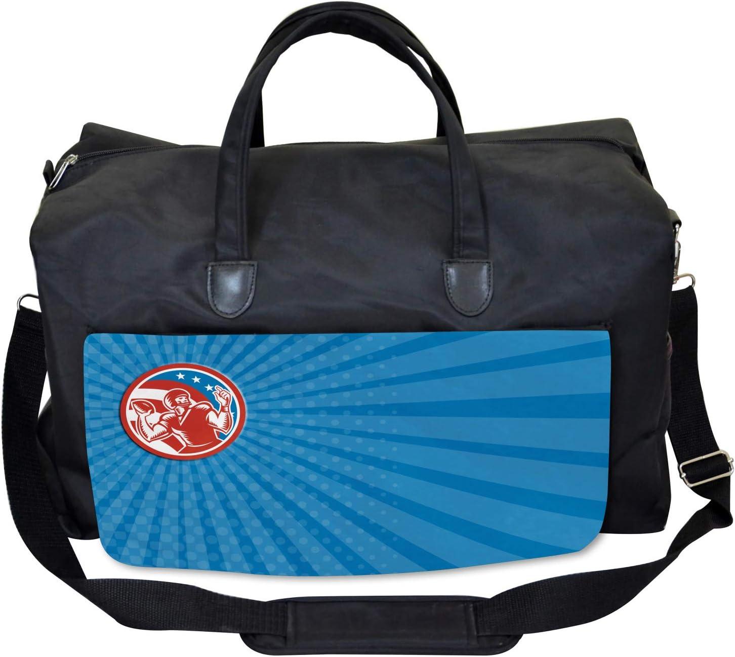 Ambesonne Blue Gym Bag Pop Art American Football Large Weekender Carry-on
