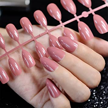 Amazon.com: Dusty cedro moda Stiletto uñas postizas punta ...