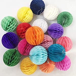 20pcs 3inch Honeycomb Flower Balls Party Honeycomb Balls Decoration Paper Flower Balls Tissue Paper Flower Ball Pom Poms Ball for Birthday Wedding Home Decor (3inch, Multi-Color)