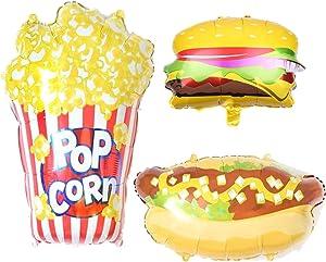 Pack of 3 Hamburger Hot dog popcorn Food Balloons set Kids Party Balloons Decorations